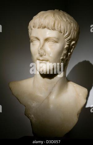 Bust of Roman Emperor Nero Germanicus Municipal Museum Palacio de Najera Antequera Malaga Andalusia Spain - Stock Photo