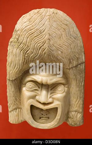 Actor with Mask Roman marble sculpture Municipal Museum Palacio de Najera Antequera Malaga Andalusia Spain - Stock Photo