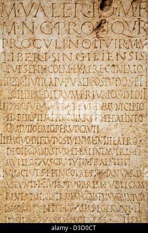 Roman inscriptions on marble Municipal Museum Palacio de Najera Antequera Malaga Andalusia Spain - Stock Photo