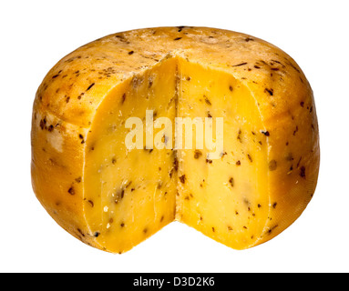 Teifi cheese with cumin cut round, Wales, UK - Stock Photo
