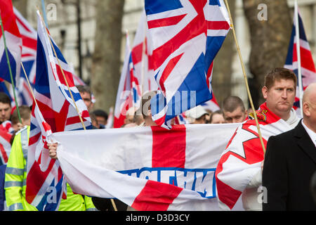 London UK. 16th February 2013.  Protesters stage a march in London organized by the southeast alliance with close - Stock Photo