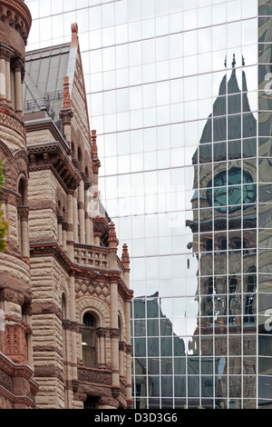 Toronto old city hall reflection old new flag Canada - Stock Photo