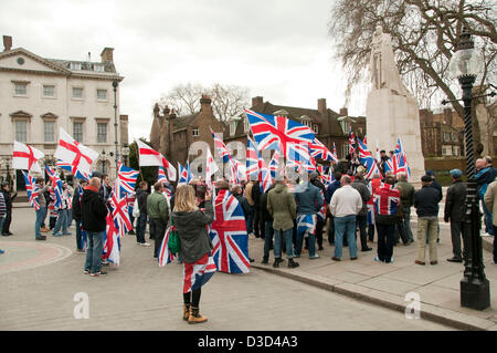 London, UK. Saturday 16th February 2013. Loyalist Flag or 'fleg' protesters from Northern Ireland join various right - Stock Photo