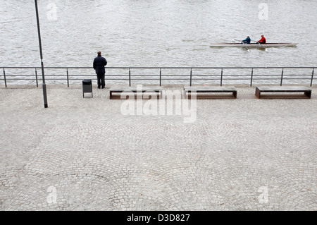 Frankfurt am Main, Germany, recreational rowers and walkers on the Theodor-Stern-Kai - Stock Photo