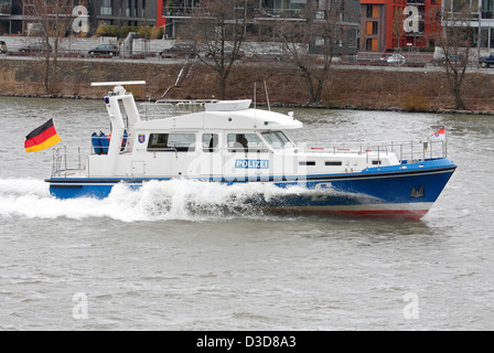 Frankfurt am Main, Germany, a police boat patrols on the Main - Stock Photo