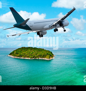Jet maneuvering over the tropical island. Square composition. - Stock Photo