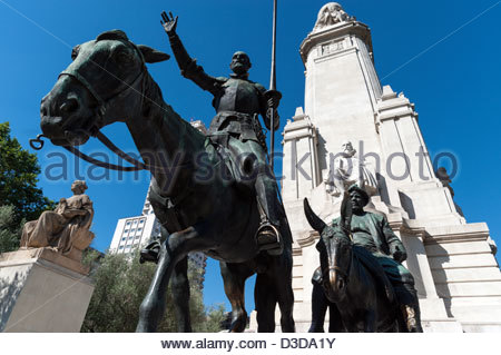 Bronze sculptures of Don Quixote and Sancho Panza at the Cervantes monument, Plaza de Espana, Madrid, Spain - Stock Photo