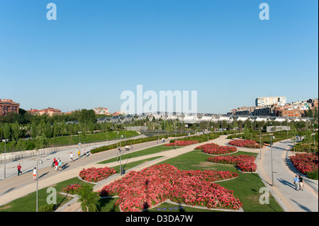 Madrid Rio Park on the banks of the Manzanares river, Spain - Stock Photo