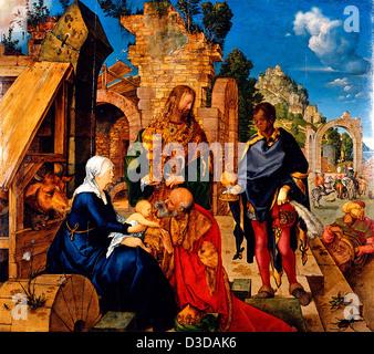 Albrecht Durer, Adoration of the Magi 1504 Oil on panel. Uffizi, Florence - Stock Photo