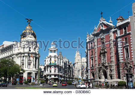 Metropolis building on the corner of Calle de Alcala and Gran Via, Madrid, Spain - Stock Photo
