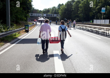 Bochum, Germany, visitors on the way to Still Life Ruhr - Stock Photo