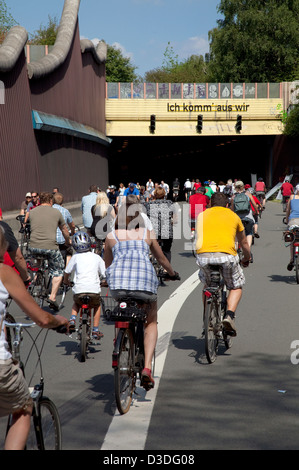 Bochum, Germany, cyclists on the Still Life Ruhr - Stock Photo