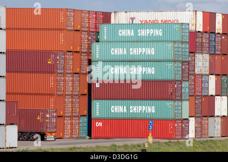 Rotterdam, The Netherlands, China Shipping Container pack of the port of Rotterdam - Stock Photo