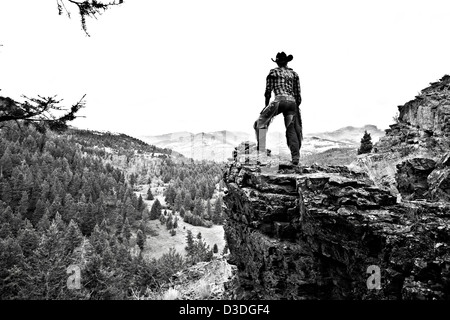 Wrangler surveying forestry view from Sheeps rock, Montana, USA - Stock Photo