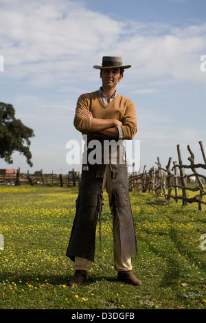 LA RUIZA FINCA, HUELVA, SPAIN, 21st FEBRUAY 2008:  Don Tomas Prieto de la Cal, 41, wears hand-tooled leather leggings - Stock Photo