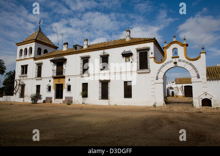 LA RUIZA FINCA, HUELVA, SPAIN, 21st FEBRUAY 2008: The large 19th century mansion of the Prieto de la Cal family - Stock Photo