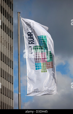 Essen, Germany, the flag of the European Capital of Culture Ruhr 2010 - Stock Photo