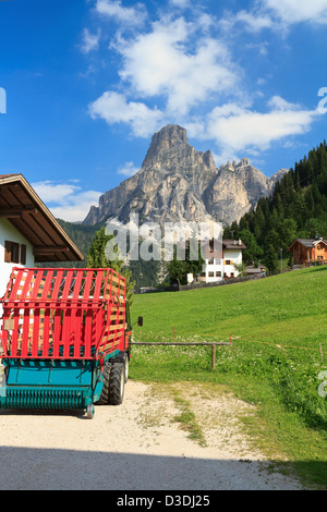 Sassongher mount from Corvara on summer, Badia Valley, Italy - Stock Photo