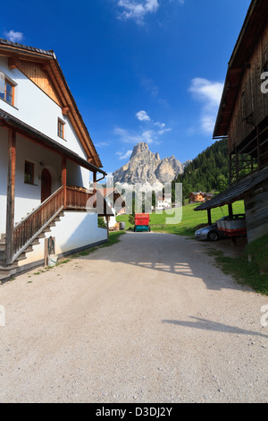 view from Corvara in Badia, Italian dolomites. On background Sassongher mount - Stock Photo