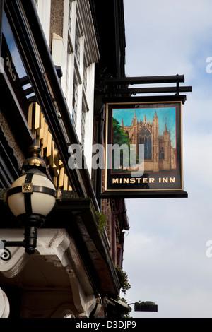 Minster Inn pub sign in Marygate,  York, Yorkshire, UK - Stock Photo