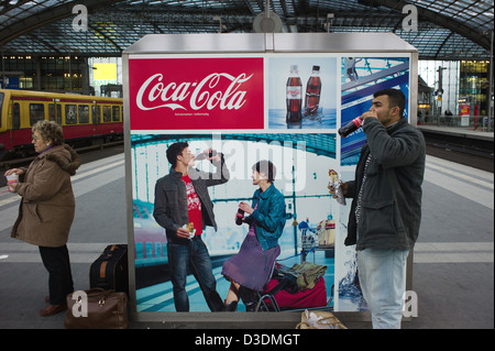 Berlin, Germany, traveling on a train platform at Central Station - Stock Photo