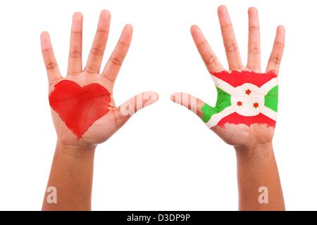 African hands with a painted heart and burundian flag, i love burundi concept, isolated on white background - Stock Photo