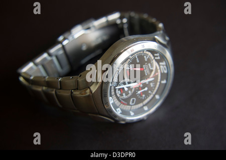 mens stainless steel chronograph watch - Stock Photo