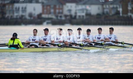 London, UK, 16th February 2013.  Cambridge University Boat Club vs University of Washington Boat Race. Cambridge - Stock Photo