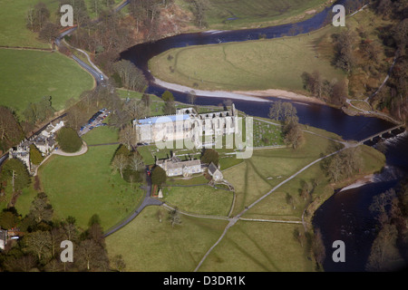 aerial view of Bolton Priory within the Bolton Abbey estate in North Yorkshire - Stock Photo
