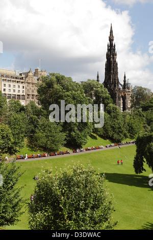 View North over East Princes Street Gardens towards the Scott Monument and Princes Street, Edinburgh City Centre, - Stock Photo