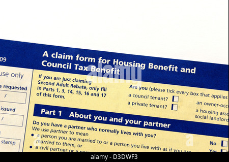 A Housing And Council Tax Benefit Form Stock Photo   Alamy