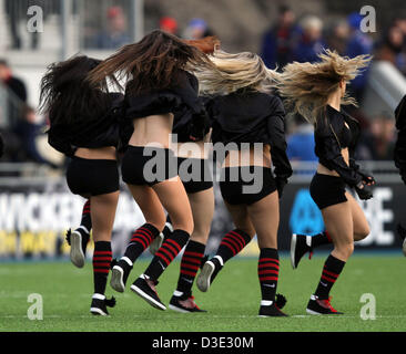 Hendon, North London, UK   Saracens v Exeter Chiefs rugby   February 16, 2013 The Saracens dancing girls with their - Stock Photo