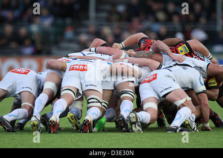 Hendon, North London, UK   Saracens v Exeter Chiefs rugby   February 16, 2013 The artificial pitch held up well - Stock Photo