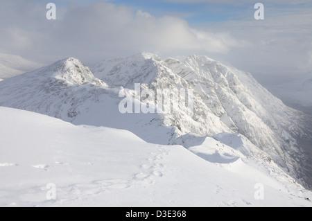 The famous Aonach Eagach mountain ridge i winter in Glencoe, Scottish Highlands - Stock Photo