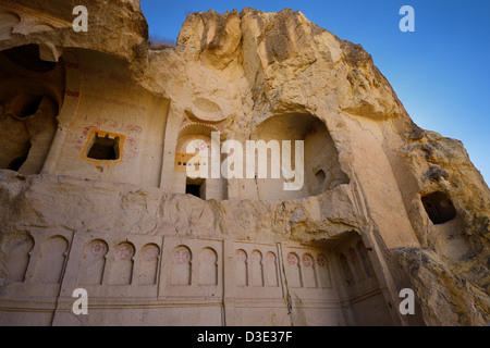 Collapsed exterior of the Dark Church cave at the Goreme Valley Open Air Museum Cappadocia Turkey - Stock Photo