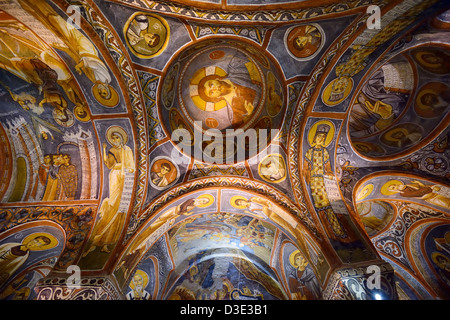 Frescoes of New Testament scenes and Christ Pantocrator in the Dark Church at Goreme Open Air Museum Cappadocia - Stock Photo