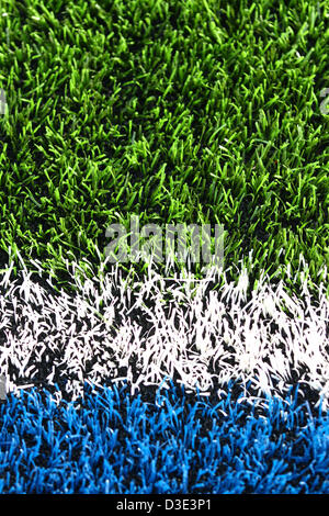 Hendon, North London, UK   Saracens v Exeter Chiefs rugby   February 16, 2013  A close-up of the artificial pitch. - Stock Photo
