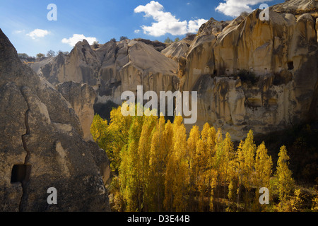 Goreme Valley cave dwelling pigeon houses at Open Air Museum Cappadocia Turkey in the Fall - Stock Photo