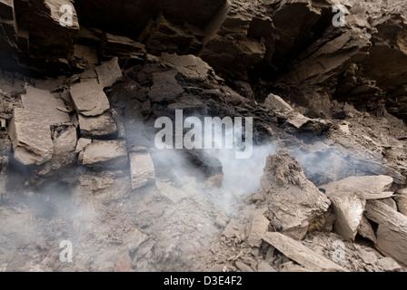 WUDA COAL FIELD, WU HAI, INNER MONGOLIA, CHINA - AUGUST 2007: A small coal fire burns close to the surface. - Stock Photo