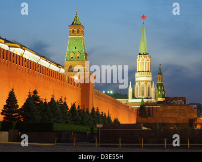 The Kremlin (The Senate Tower and the St. Nicholas (Nikolskaya) Tower) and the Lenin Mausoleum at the Red Square, - Stock Photo