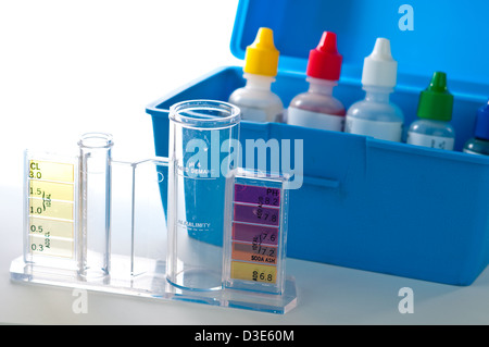 Swimming Pool test kit for testing chemical levels. - Stock Photo
