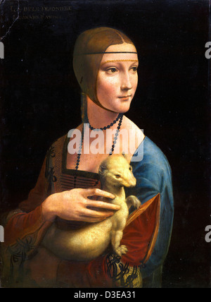 Leonardo da Vinci, Lady with an Ermine 1489-90 Oil on panel. Czartoryski Museum, Krakow - Stock Photo