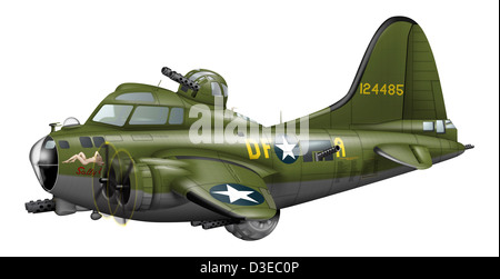 Cartoon illustration of a Boeing B-17 Flying Fortress. - Stock Photo