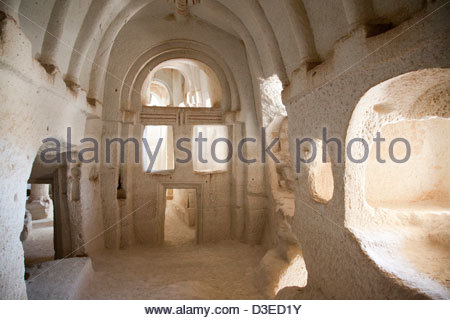rock church,rose valley,landscape,cappadocia,anatolia,turkey,asia - Stock Photo