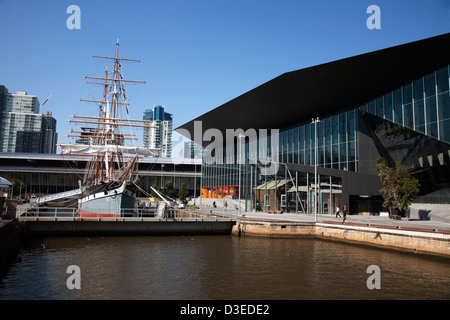 Polly Woodside is an iron-hulled, three-masted barque currently forming the major attraction of the Melbourne Maritime - Stock Photo