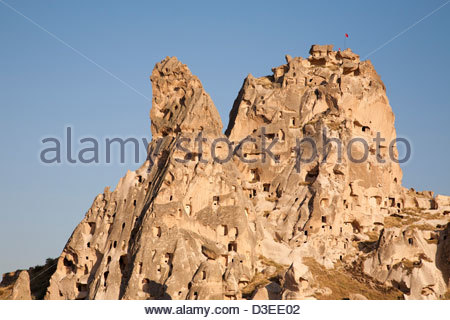 landscape and uchisar village,cappadocia,anatolia,turkey,asia - Stock Photo