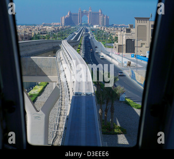 Monorail viewed from the train in Dubai as it approaches the Atlantis Palm Hotel UAE, Dubai - Stock Photo