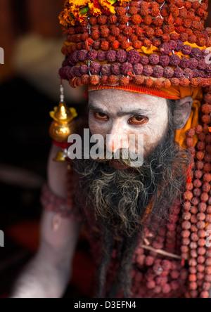 Sadhu With Rudraksha Mala, Maha Kumbh Mela, Allahabad, India - Stock Photo