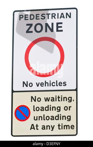 Pedestrian Zone No Vehicles Road Sign England - Stock Photo