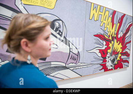 Tate Modern, London, UK. 18 February 2013. Whaam, inspired by a comic book. Roy Lichtenstein, one of the most famous - Stock Photo